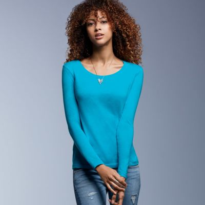 Ladies' Featherweight Long-Sleeve Scoop Tee  Thumbnail