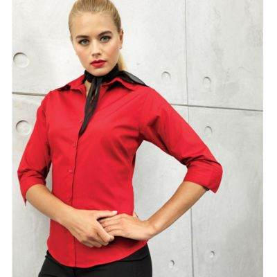 Women's ¾ sleeve poplin blouse Thumbnail