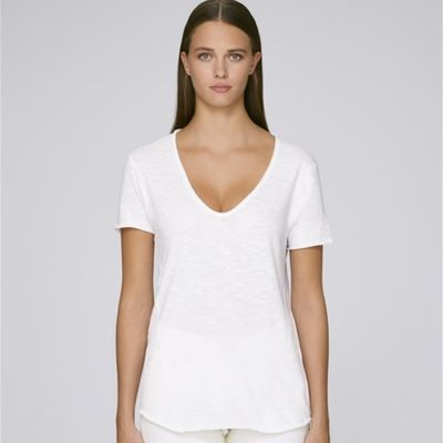 Whisper Slub Deep raw edge V-neck tee-shirt Thumbnail